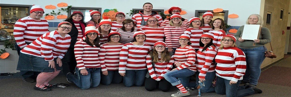 BES staff dress as Waldo for Halloween 2018