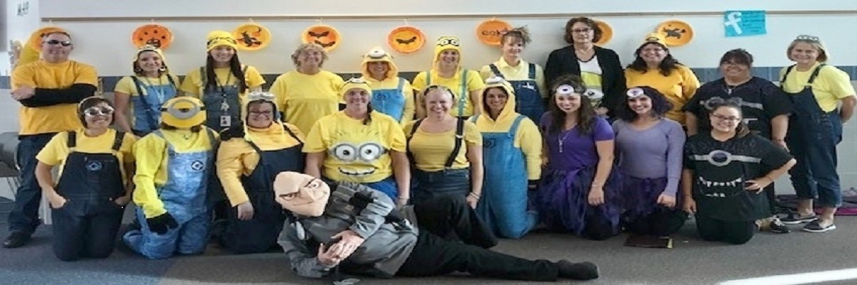 BES staff dressed as minions for Halloween