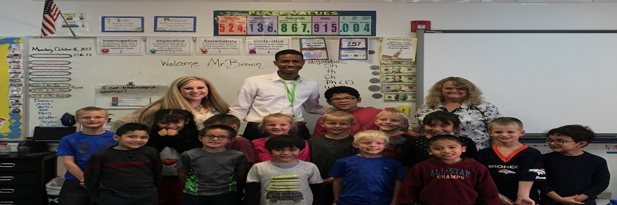 elementary students with weatherman